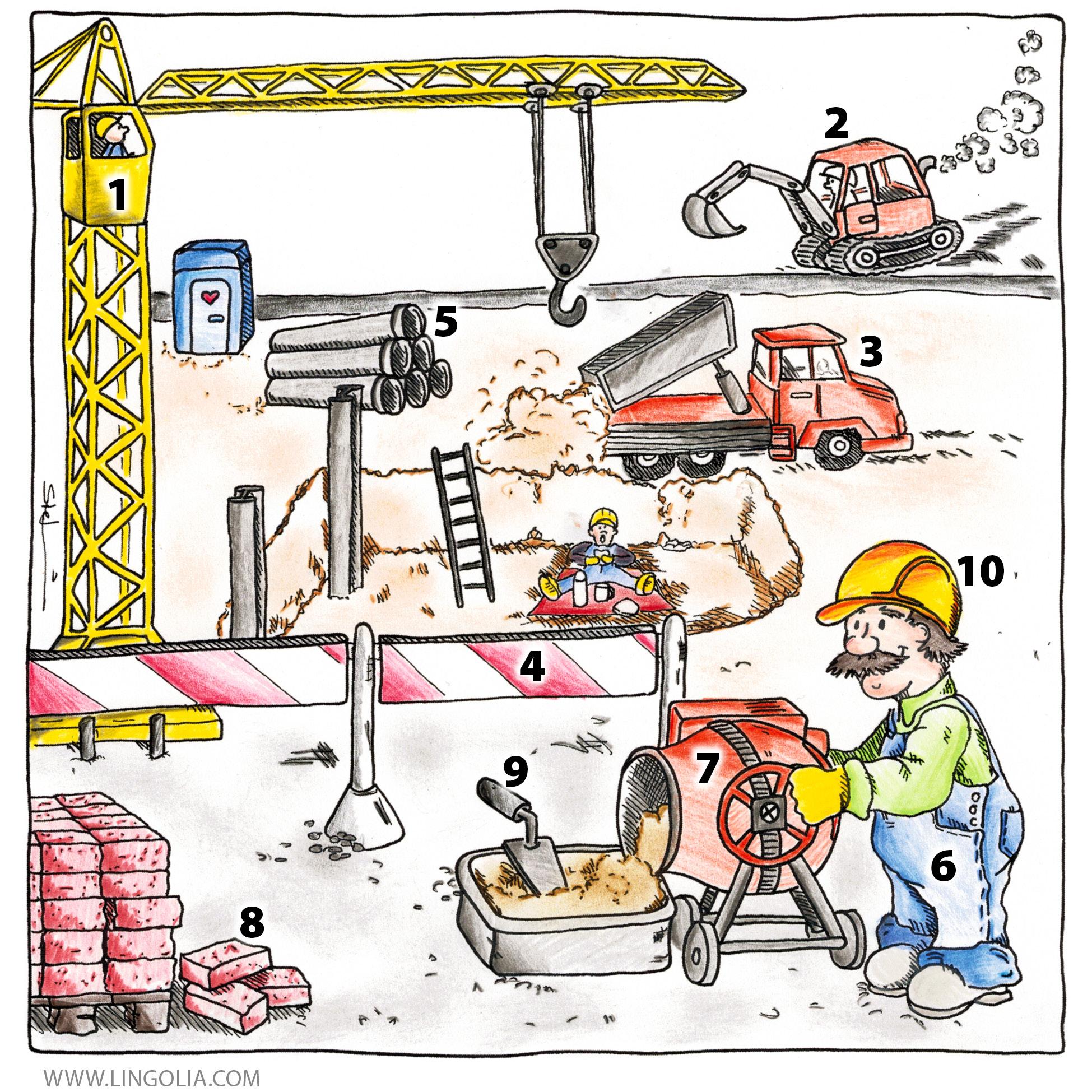 Baustelle zeichnung  Baustelle - Lingolia Deutsch