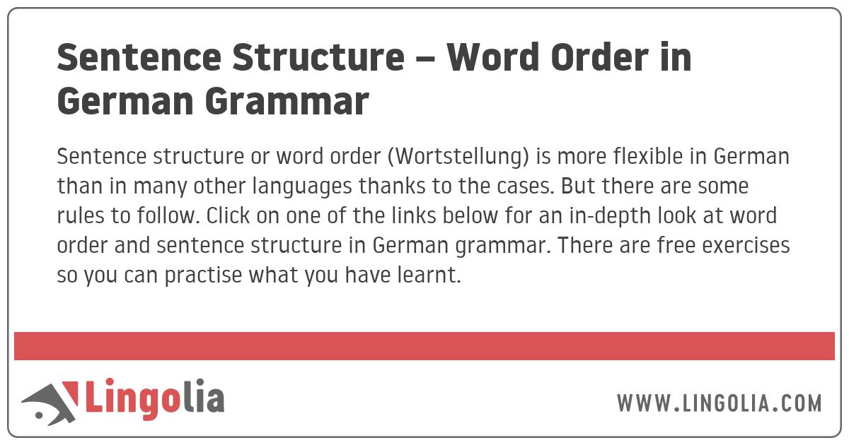 Sentence Structure – Word Order in German Grammar