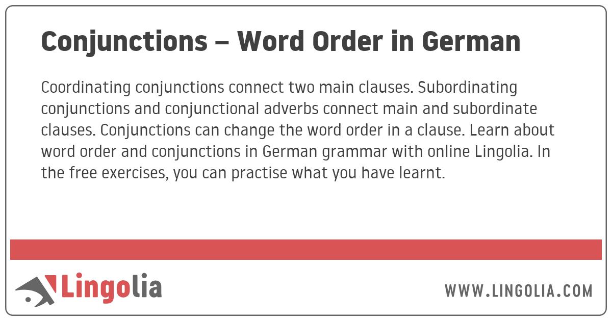 Conjunctions – Word Order in German
