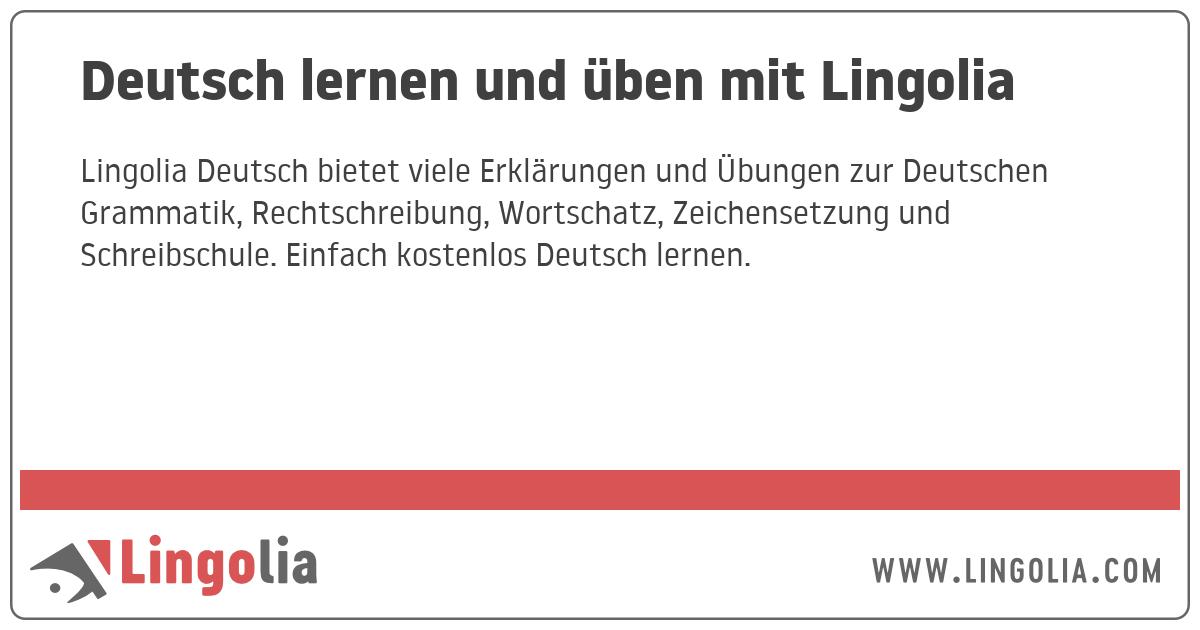 Deutsch Lernen Und üben Mit Lingolia