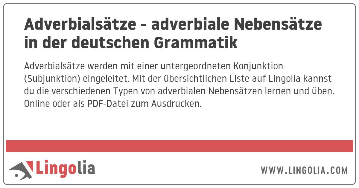 Adverbialsatze Adverbiale Nebensatze In Der