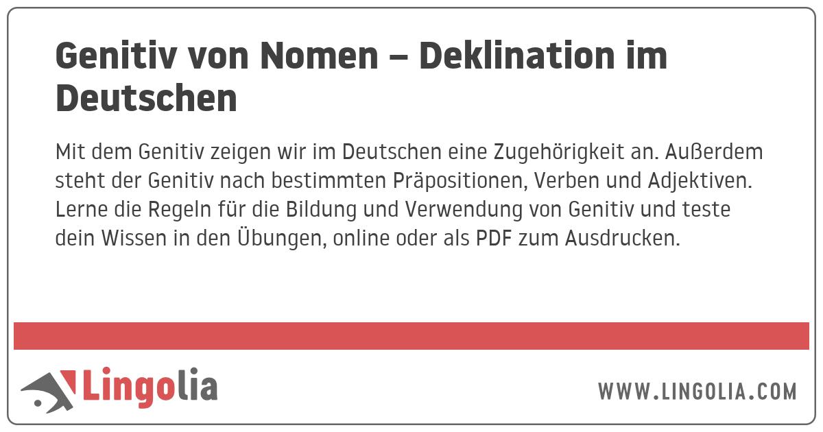 Genitiv Von Nomen Deklination Im Deutschen