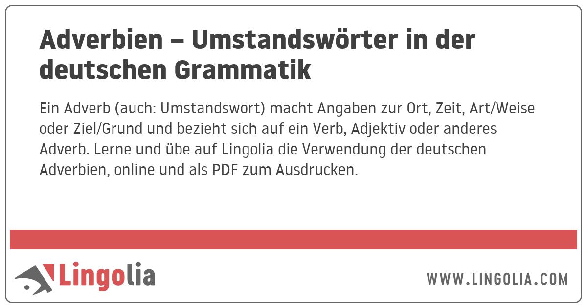 Adverbien Umstandswörter In Der Deutschen Grammatik