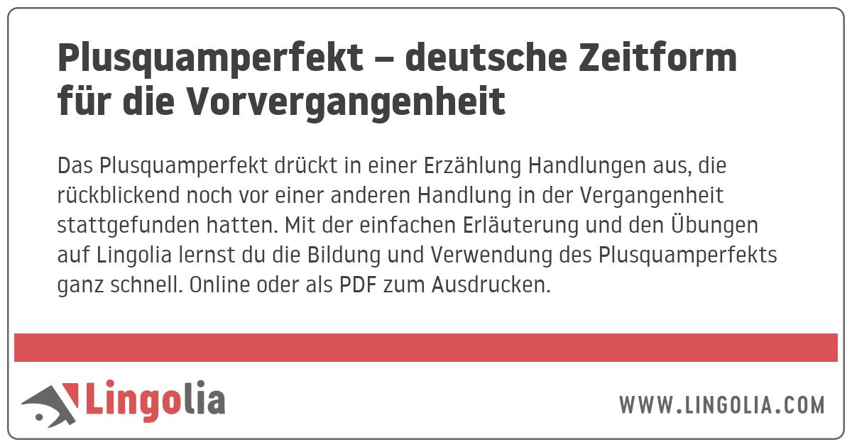 Plusquamperfekt Deutsche Zeitform Fur Die Vorvergangenheit