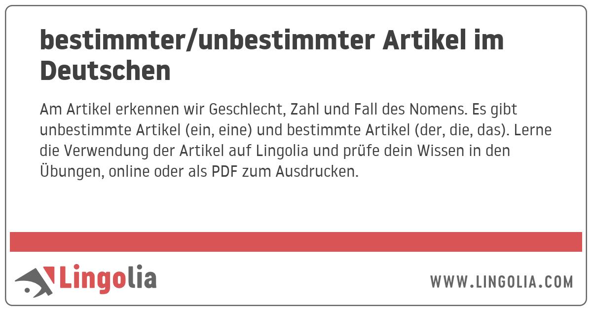Bestimmterunbestimmter Artikel Im Deutschen