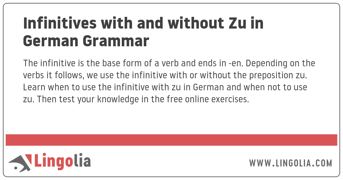 Infinitives with and without Zu in German Grammar