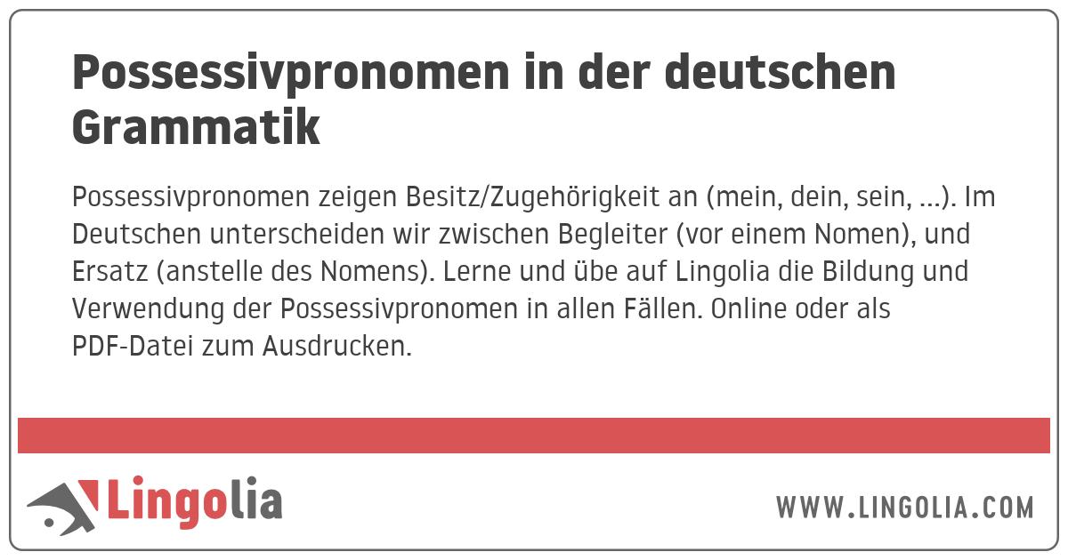 Possessivpronomen In Der Deutschen Grammatik