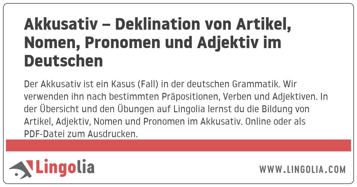 Akkusativ Deklination Von Artikel Nomen Pronomen Und Adjektiv Im
