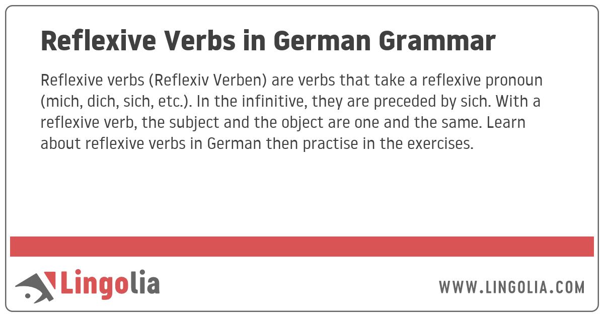Reflexive Verbs In German Grammar