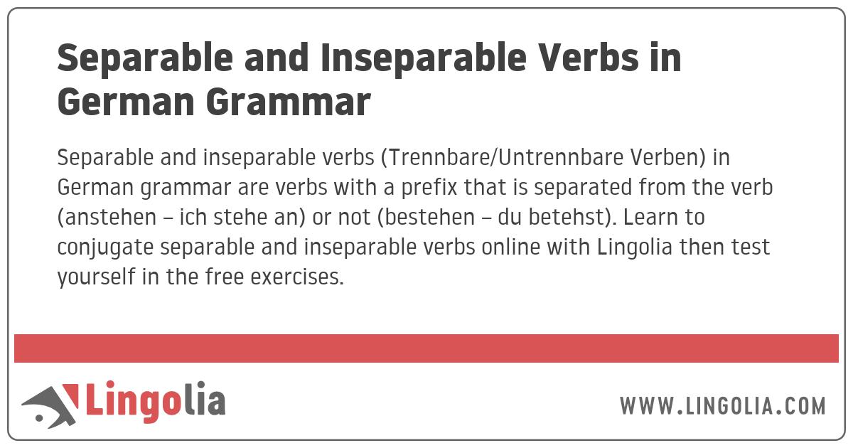 Separable and Inseparable Verbs in German Grammar