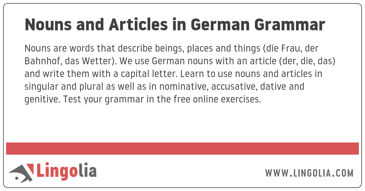 Nouns And Articles In German Grammar