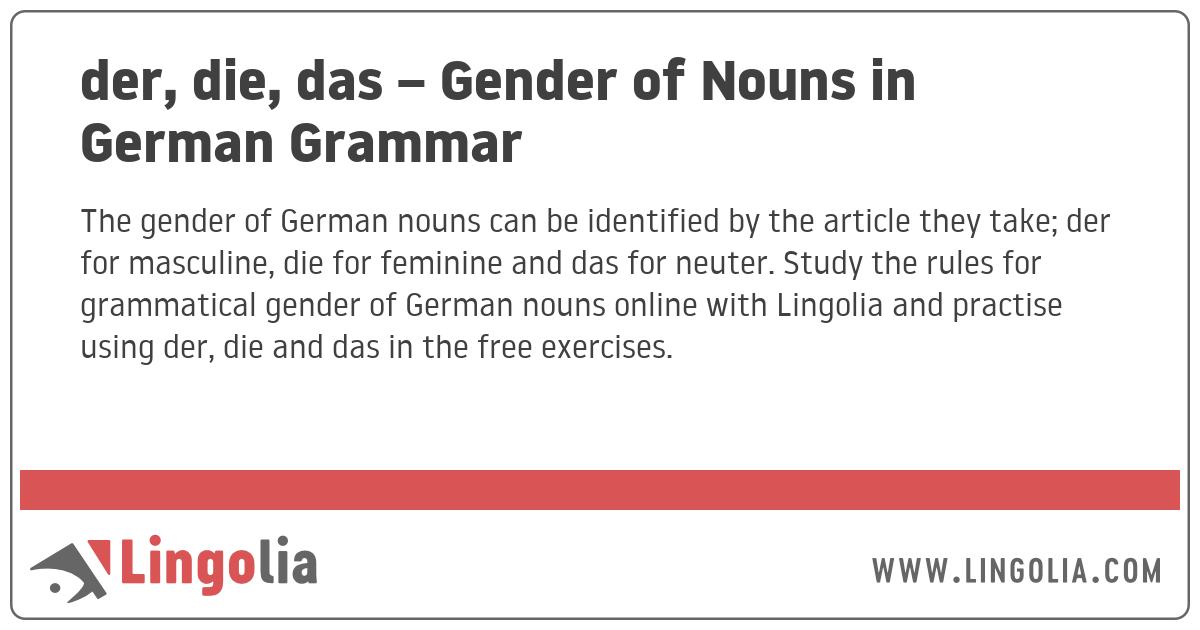 der, die, das – Gender of Nouns in German Grammar