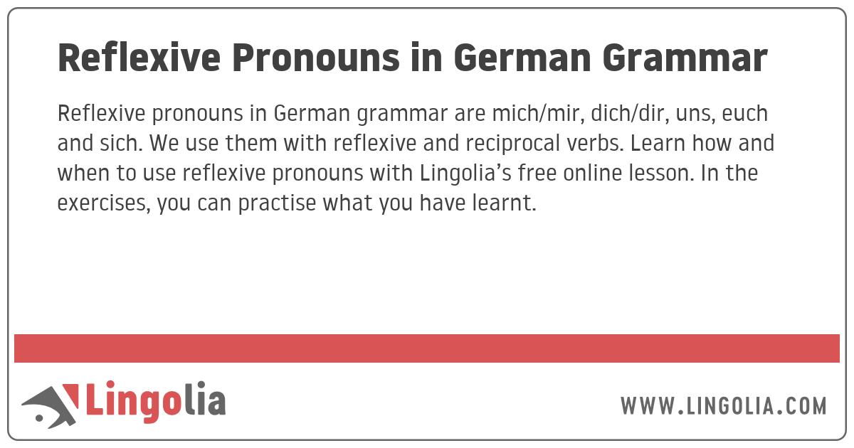 Dich du ich akkusativ mich Reflexive Pronouns