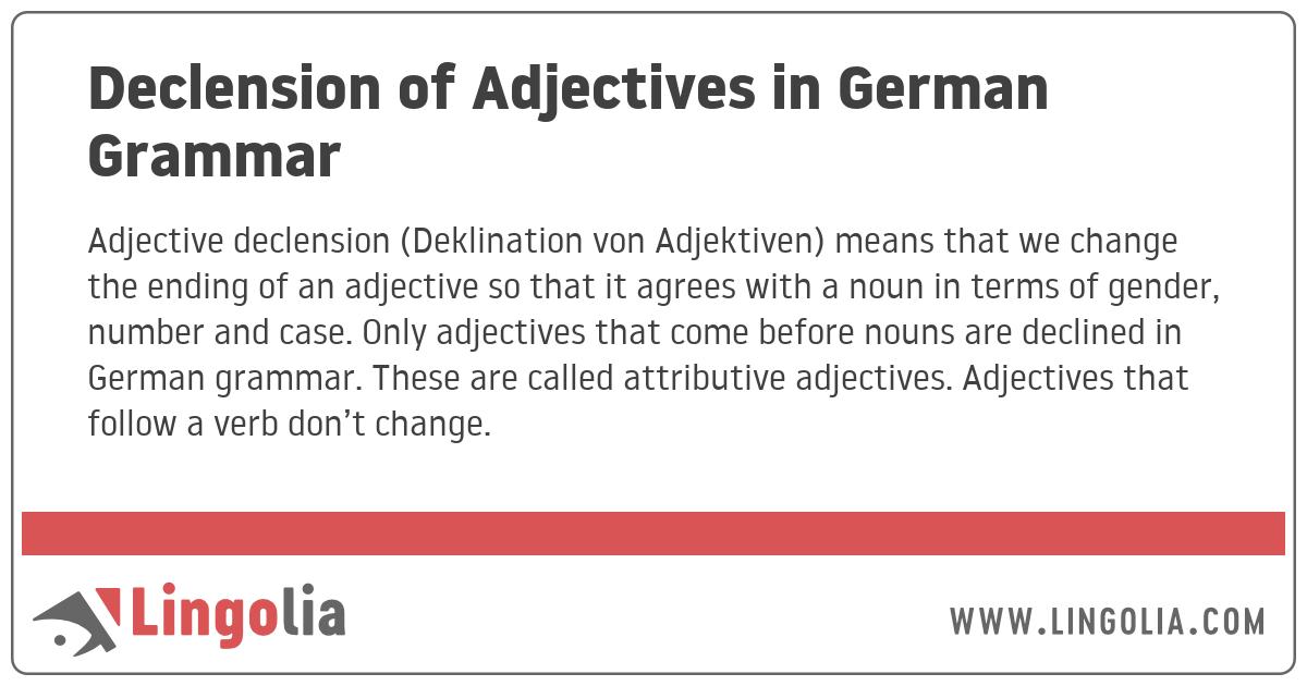 Declension of Adjectives in German Grammar